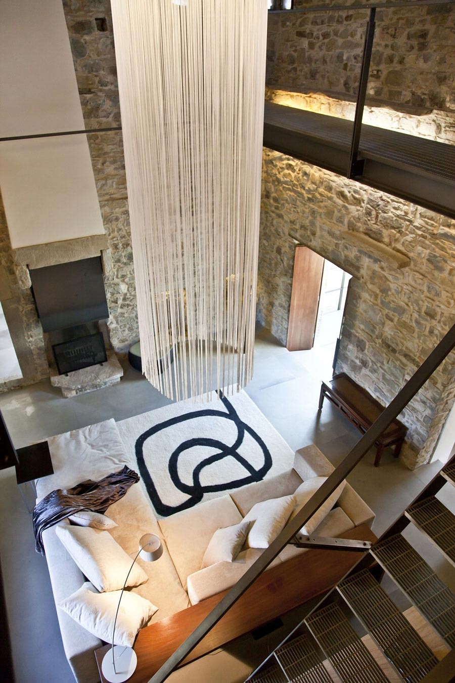 Sofa, Rug, Lighting, Stone Walls, Fireplace, Torre Moravola Boutique Hotel in Montone, Italy