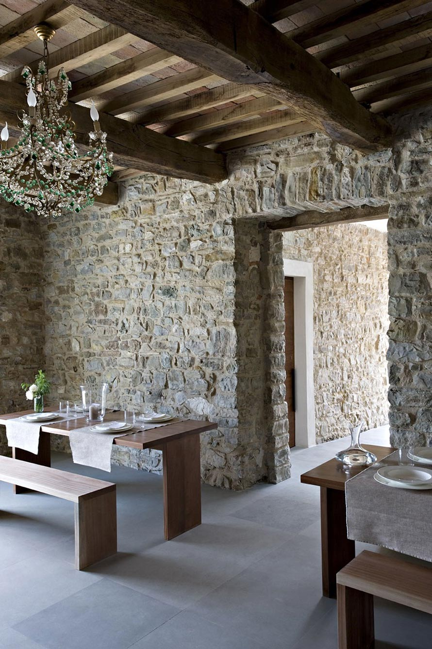 Stone Walls, Wood Beams, Dining Tables, Torre Moravola Boutique Hotel in Montone, Italy