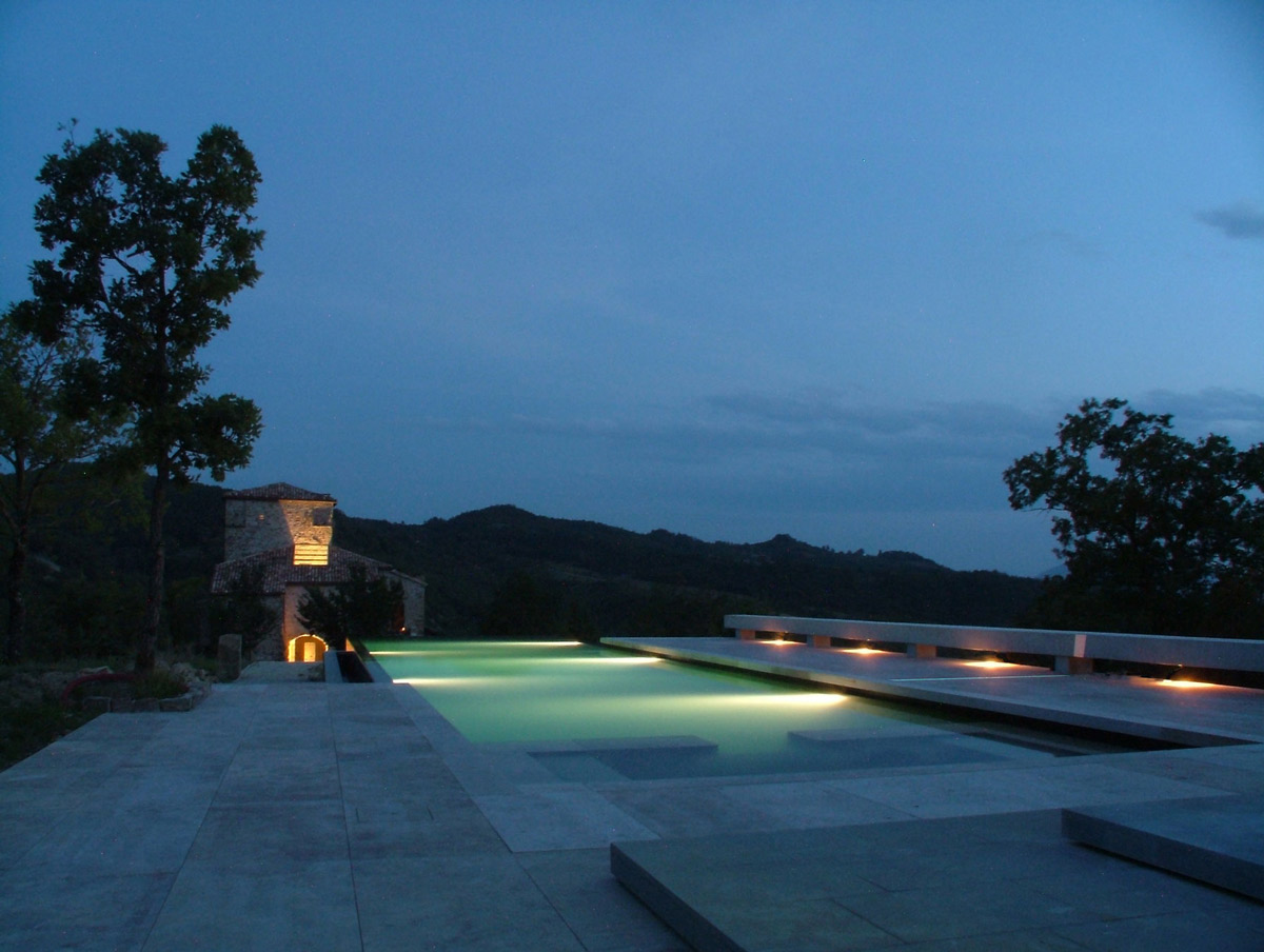 Terrace, Pool Lighting, Torre Moravola Boutique Hotel in Montone, Italy