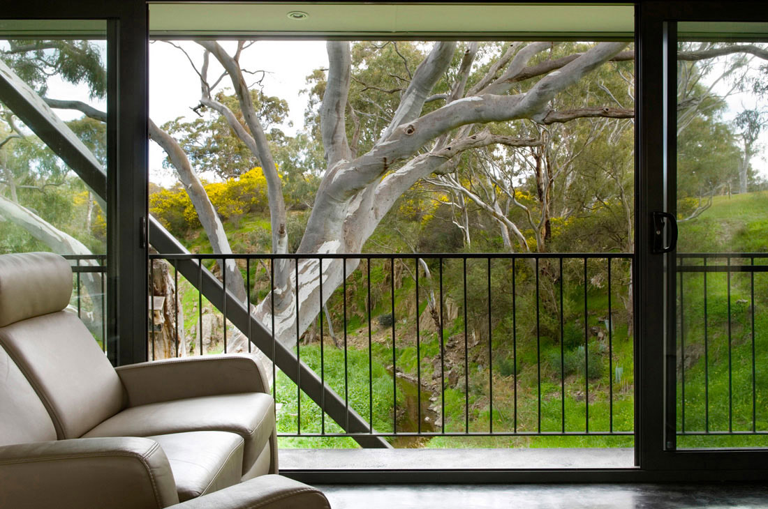 Living Space, Balcony, Bridge House in Adelaide, Australia by Max Pritchard Architect