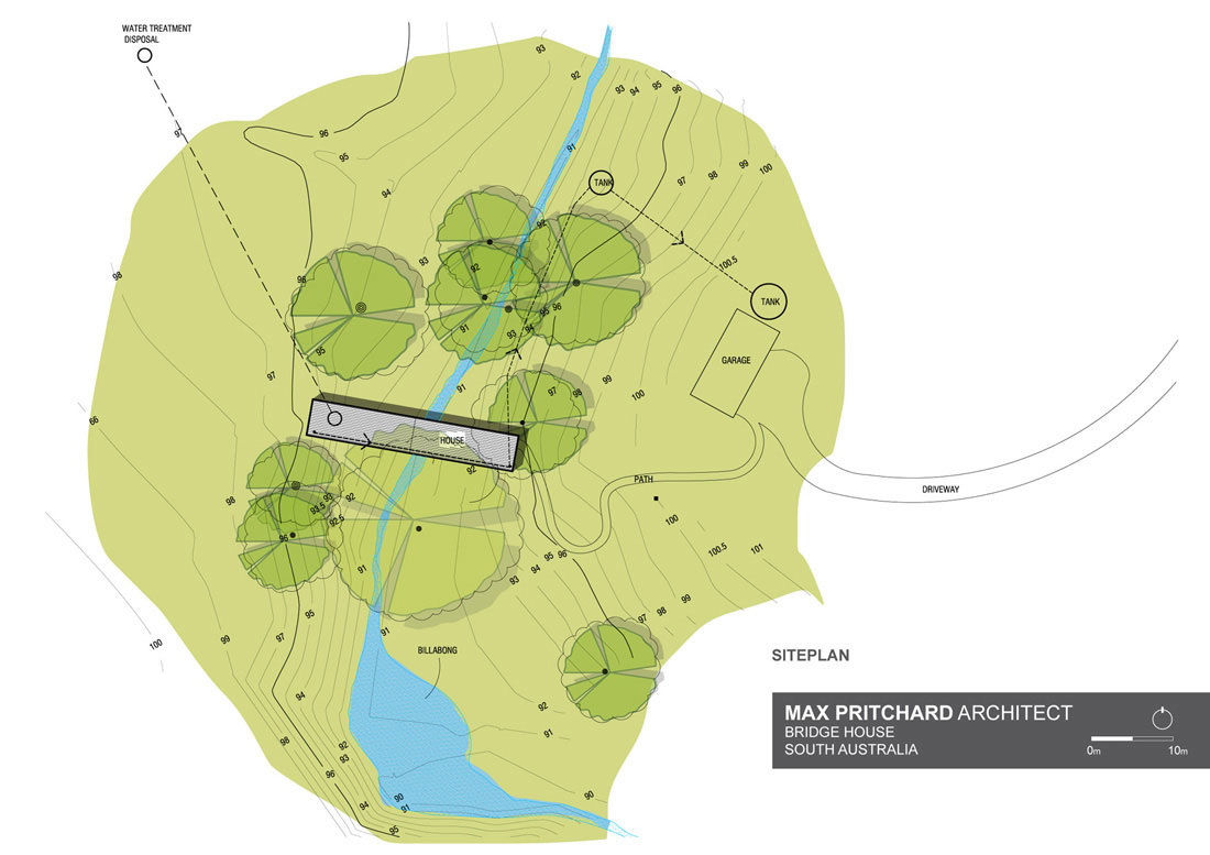 Site Plan, Bridge House in Adelaide, Australia by Max Pritchard Architect