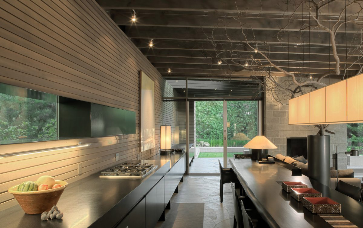 Kitchen, Dining, Living Space, Urban Cabin in Medina, Washington by Suyama Peterson Deguchi