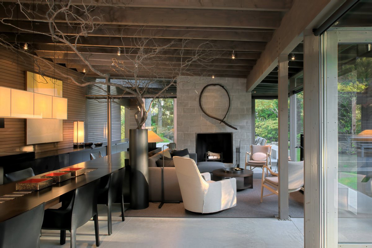 Living Space, Fireplace, Dining Table, Urban Cabin in Medina, Washington by Suyama Peterson Deguchi