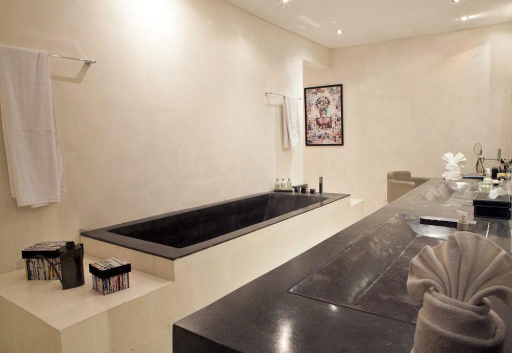 Shower, Large Stone Sink, Bath, Casa Hannah in Bali, Indonesia by Bo Design