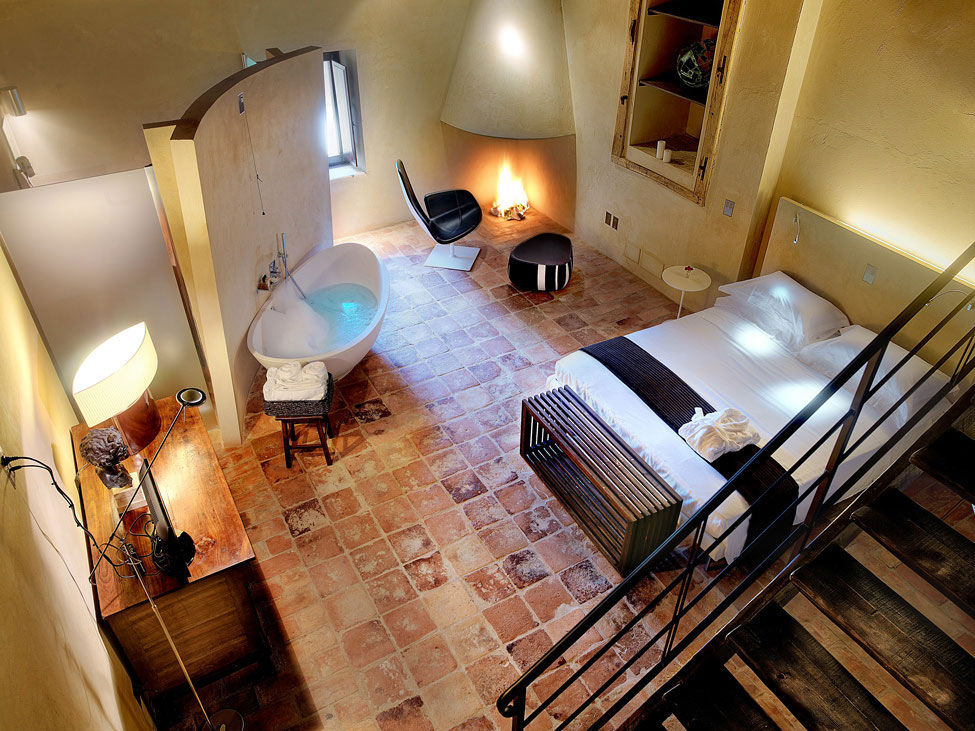 Bedroom, Fireplace, Bath, Lighting, Tiled Floor, Castello di Semivicoli Hotel in Casacanditella, Italy