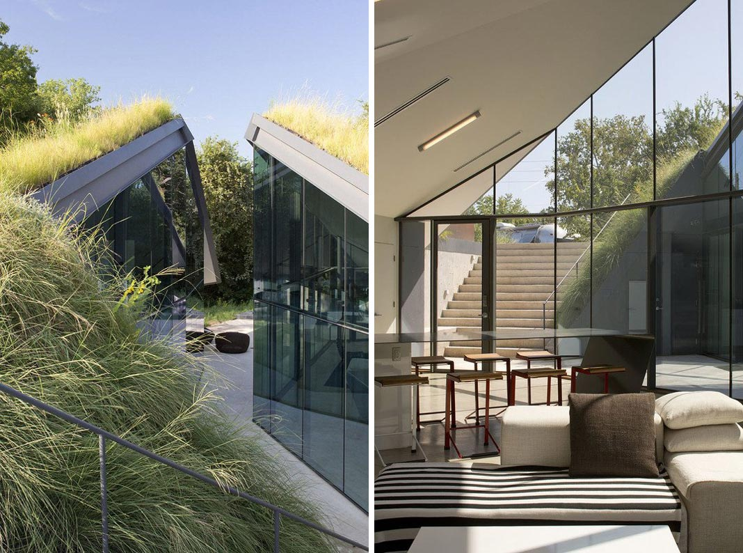 Green Roof, Living Space, Edgeland Residence on the Colorado River by Bercy Chen Studio