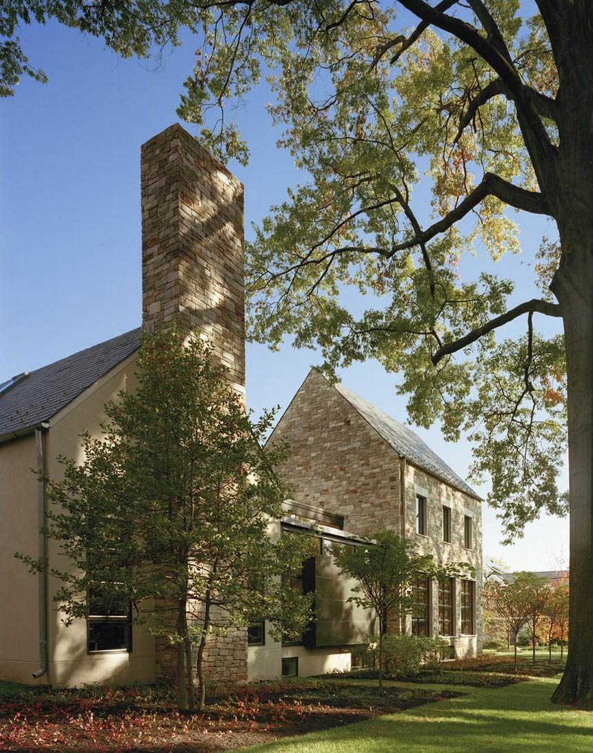 Chimney, Garden, Edgemoor Residence in Maryland by David Jameson Architect