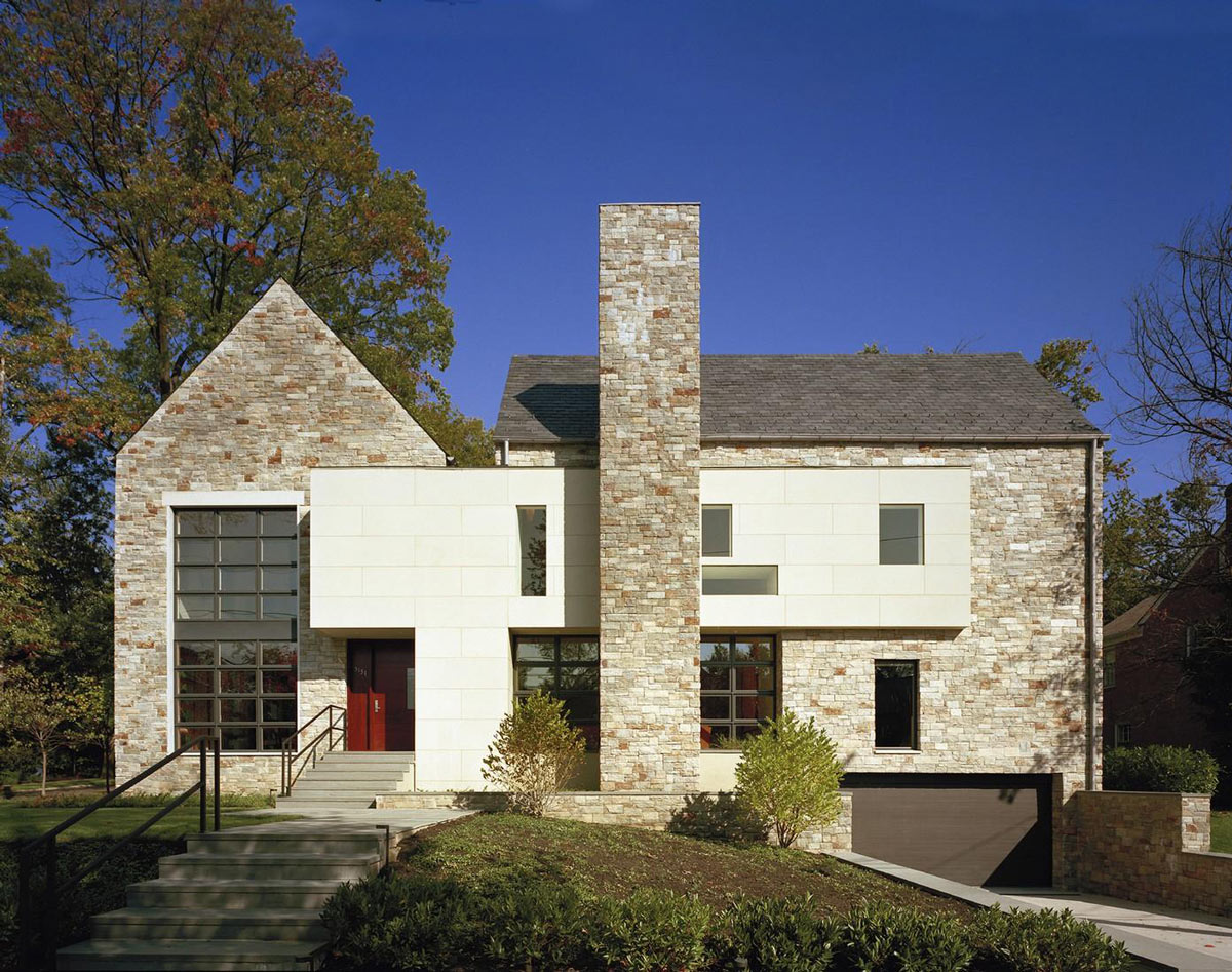 Entrance, Steps, Garage, Edgemoor Residence in Maryland by David Jameson Architect