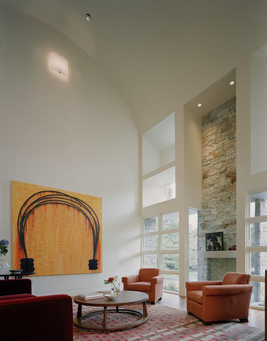 Fireplace, Living Space, Art, Edgemoor Residence in Maryland by David Jameson Architect