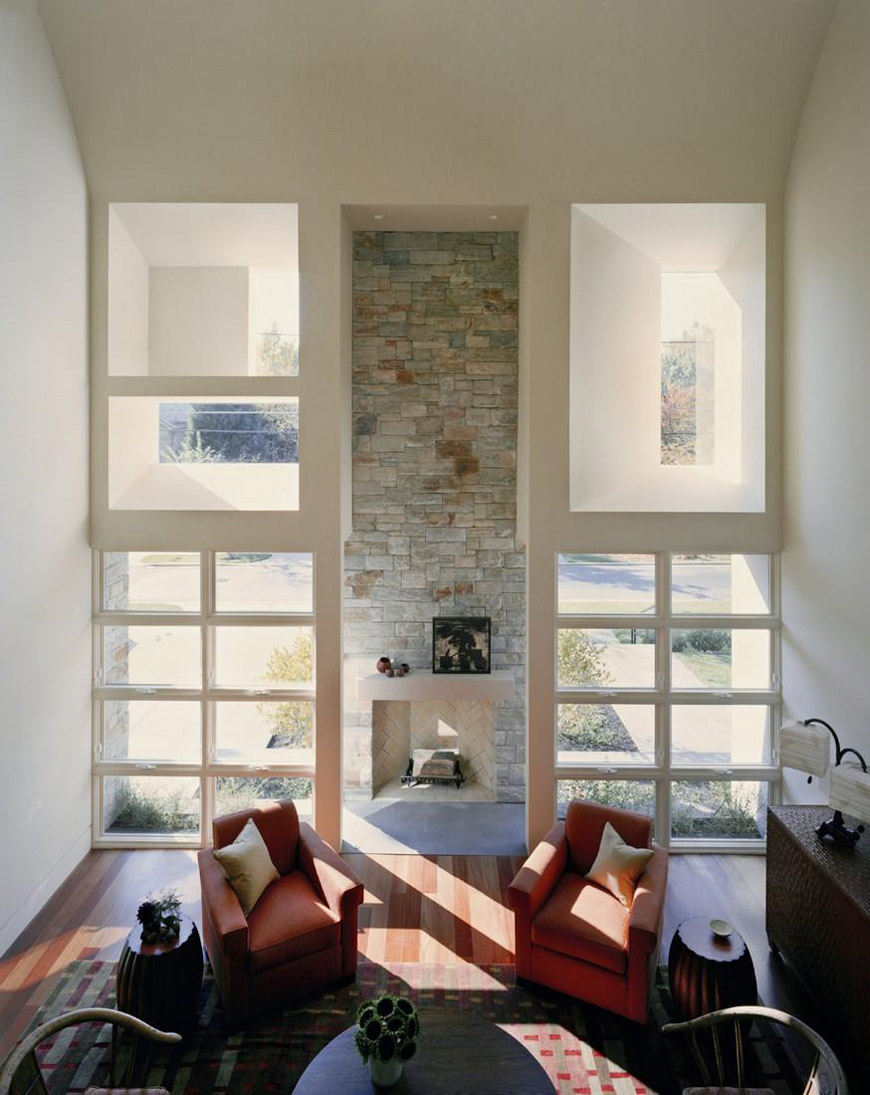 Fireplace, Living Space, Edgemoor Residence in Maryland by David Jameson Architect