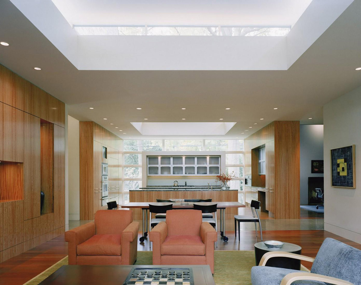 Kitchen, Dining, Living Space, Edgemoor Residence in Maryland by David Jameson Architect