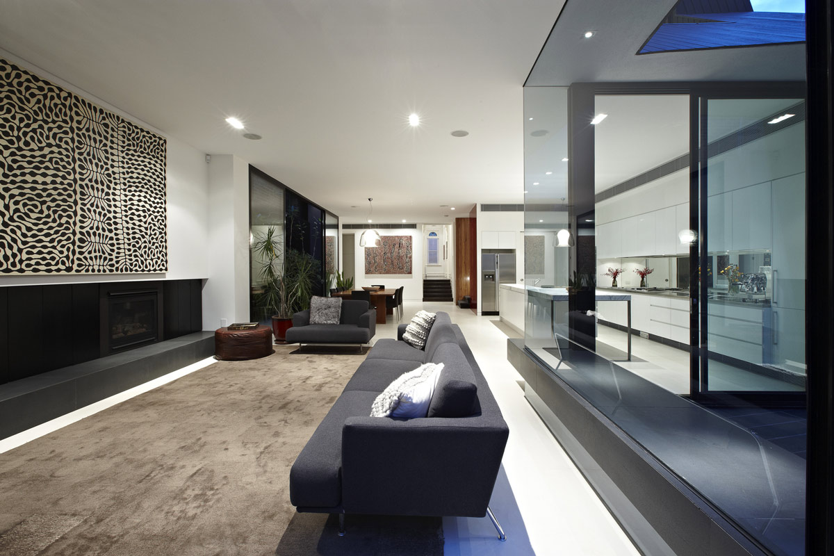 Living Space, Fireplace, Sofa, Dining Space, Enclave House in Melbourne, Australia by BKK Architects