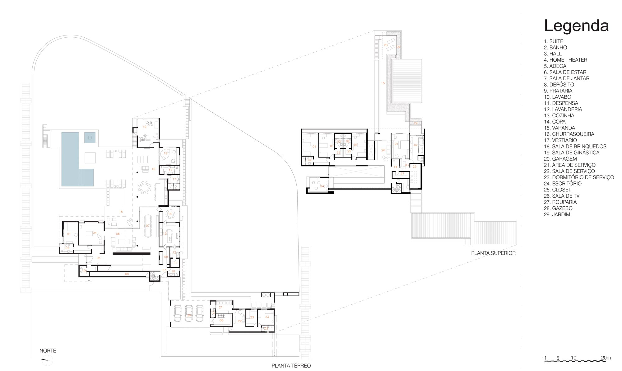 Floor Plans, FG Residence in Araraquara, Brazil