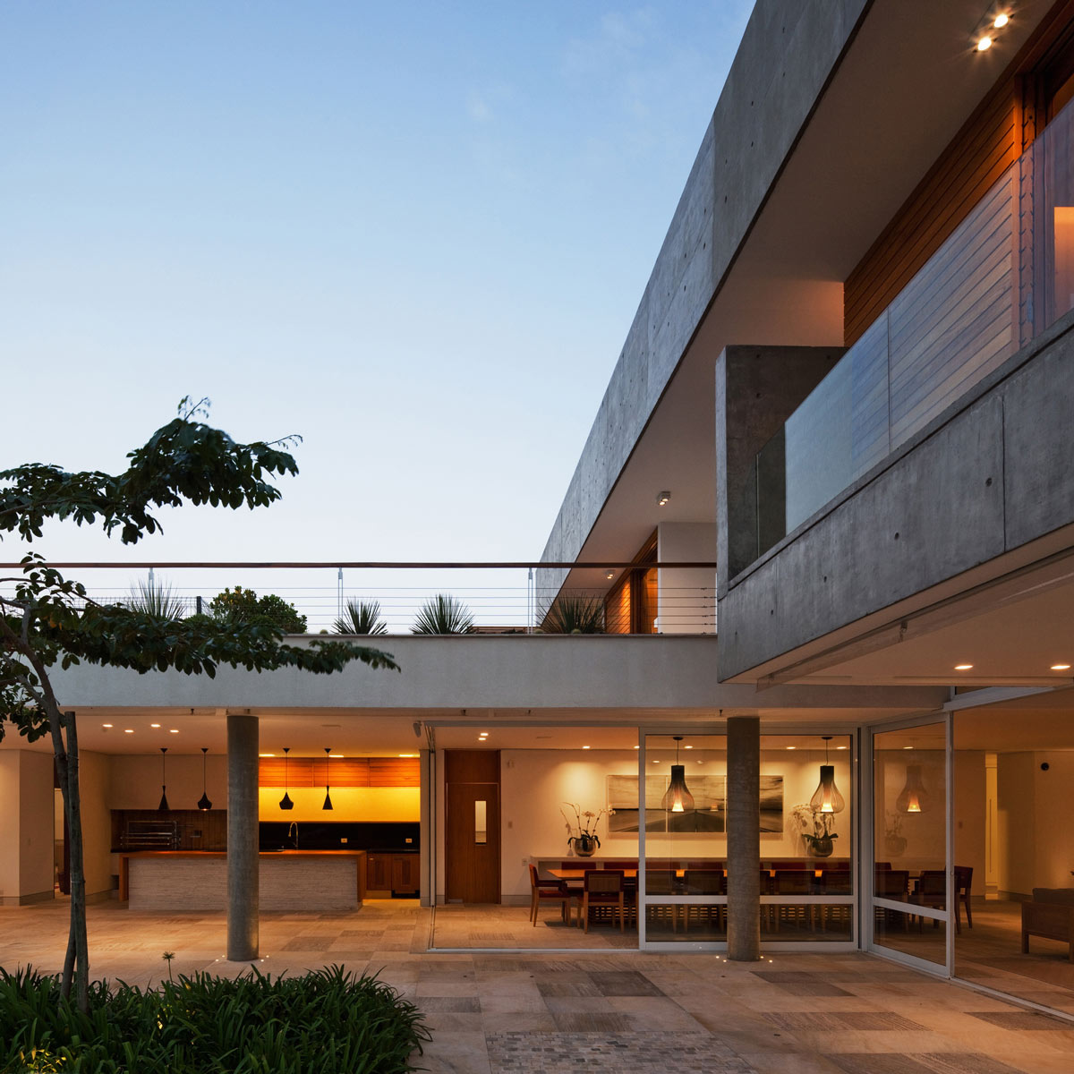 Terrace, Patio Doors, Lighting, FG Residence in Araraquara, Brazil