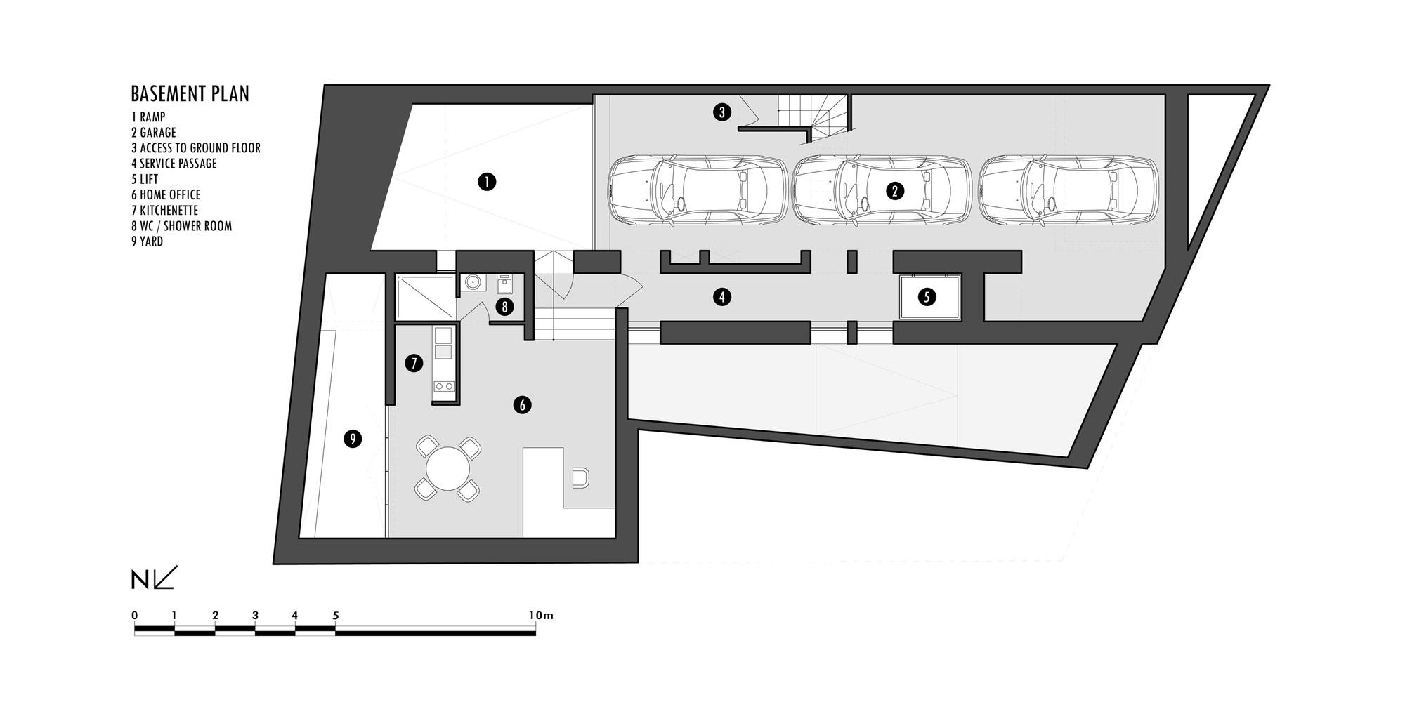 Basement Plan, Hanging Home in Naxxar, Malta by Chris Briffa Architects