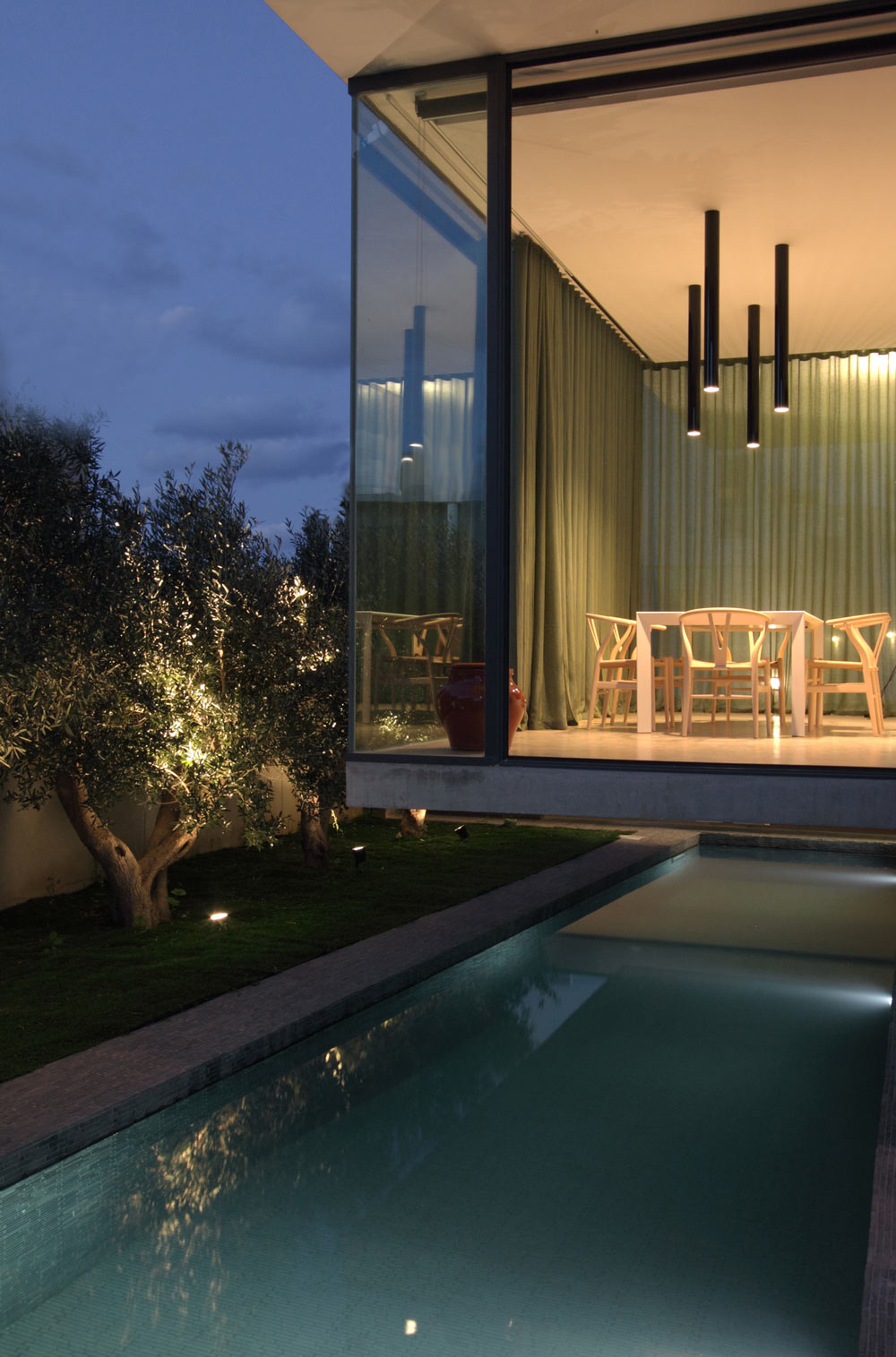 Cantilever, Dining Room, Pool, Hanging Home in Naxxar, Malta by Chris Briffa Architects