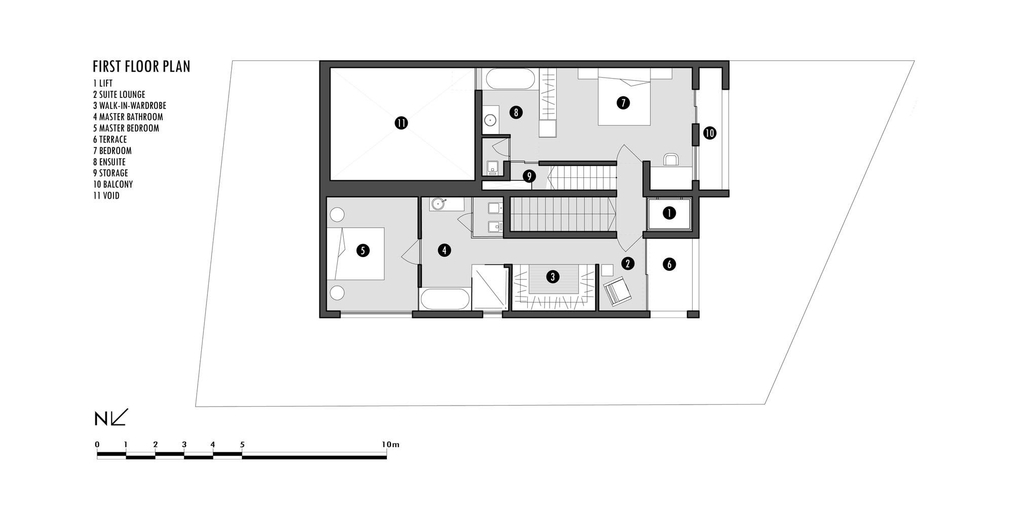 First Floor Plan, Hanging Home in Naxxar, Malta by Chris Briffa Architects