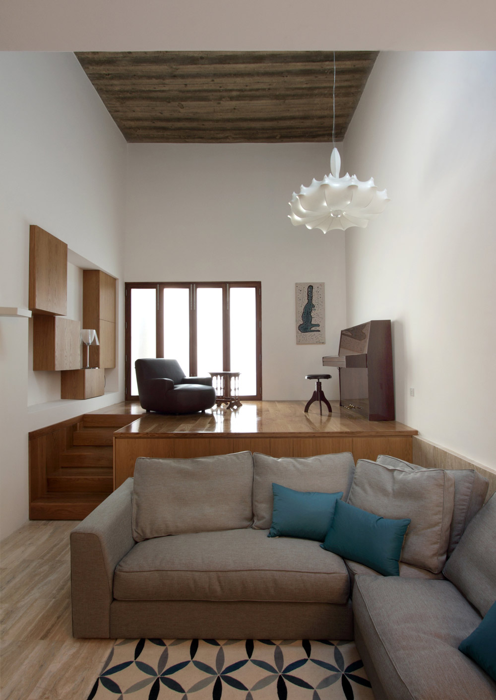 Living Space, Piano, Lighting, Sofa, Hanging Home in Naxxar, Malta by Chris Briffa Architects