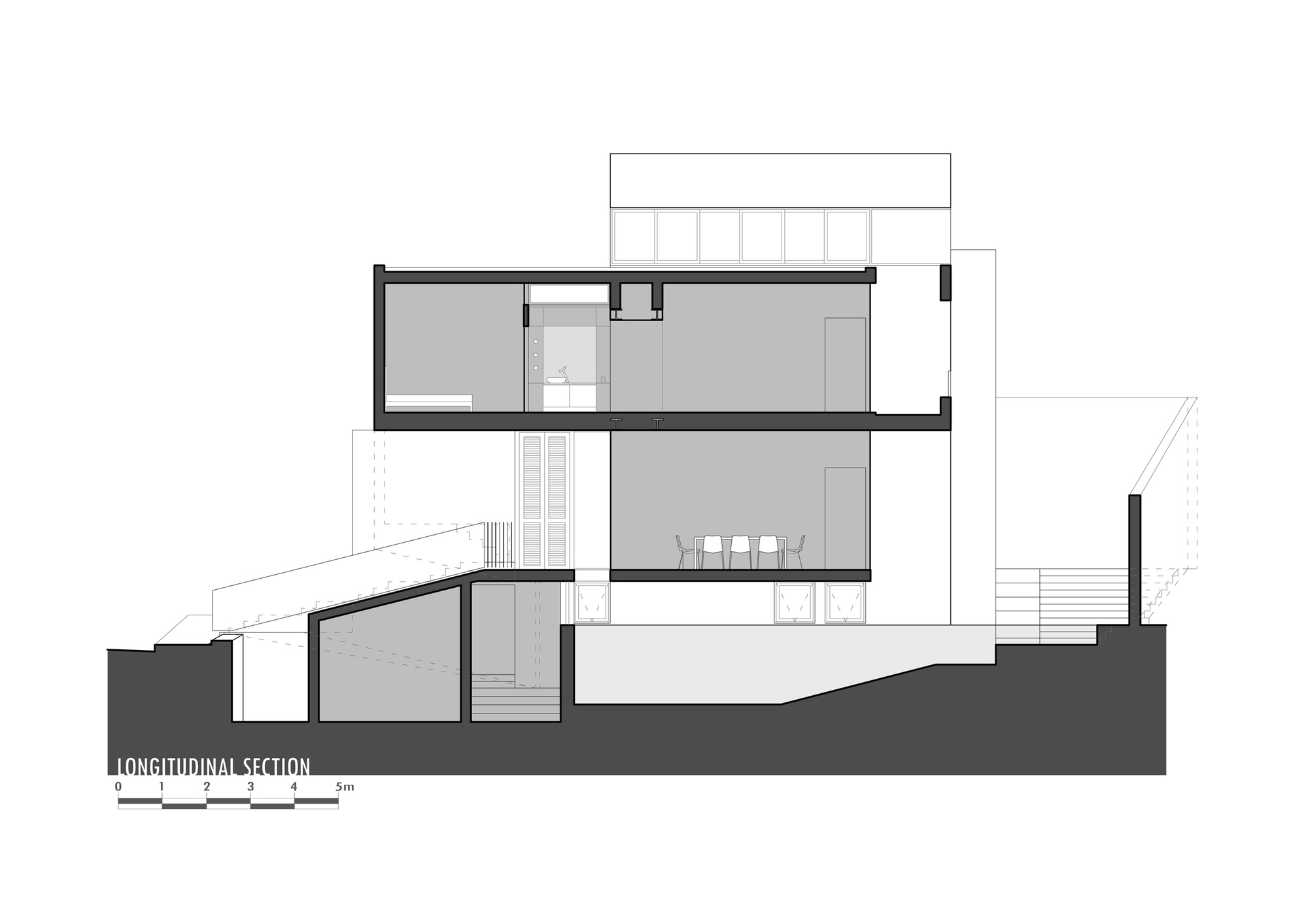 Section, Hanging Home in Naxxar, Malta by Chris Briffa Architects
