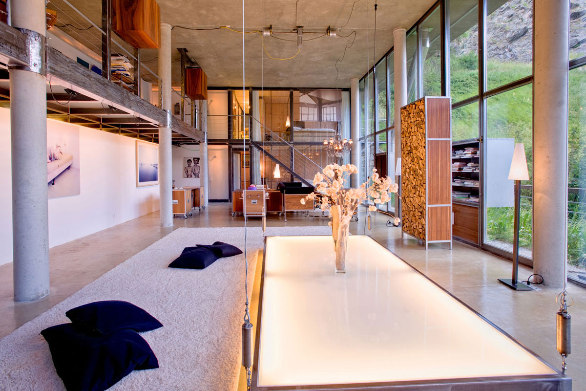 Coffee Table Lighting, White Rug, Heinz Julen Loft in Zermatt, Switzerland