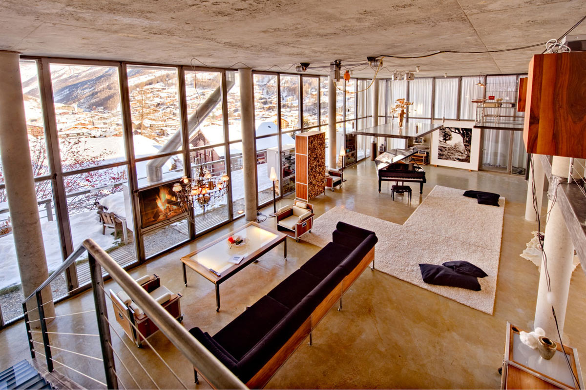 Contemporary Fireplace, Sofa, Heinz Julen Loft in Zermatt, Switzerland