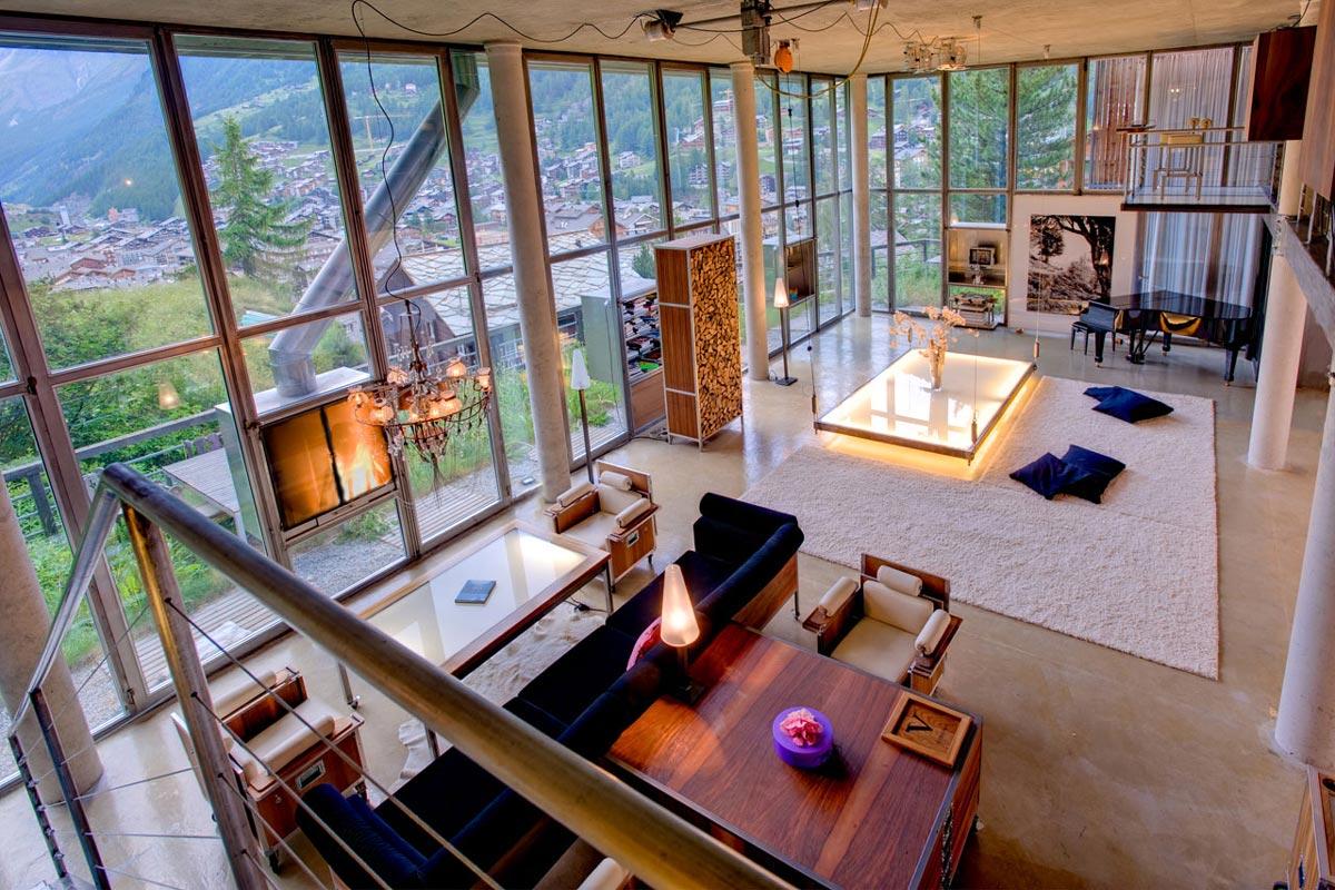High Ceilings, Modern Fireplace, Living Space, Heinz Julen Loft in Zermatt, Switzerland