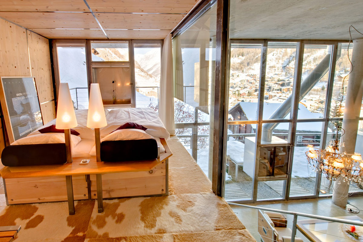 Mezzanine Bedroom, Mountain Views, Heinz Julen Loft in Zermatt, Switzerland