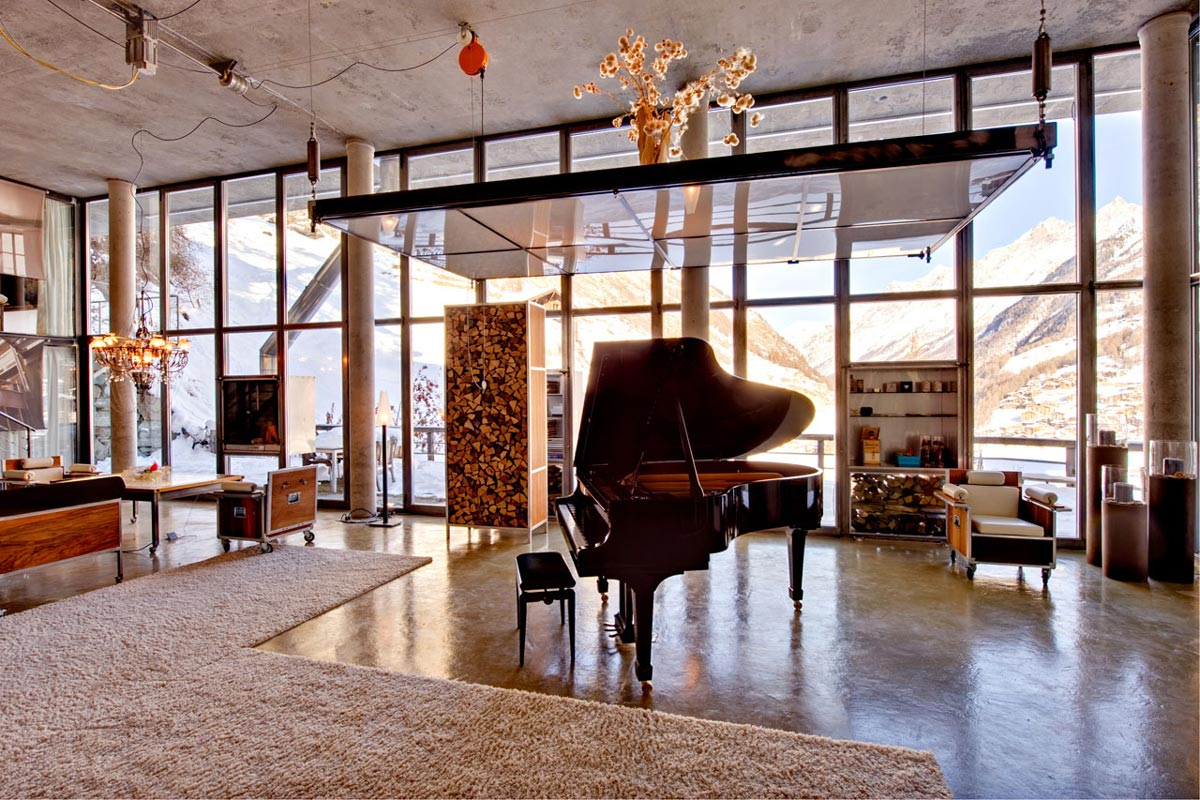 Piano, Rugs, Open Plan Living, Heinz Julen Loft in Zermatt, Switzerland