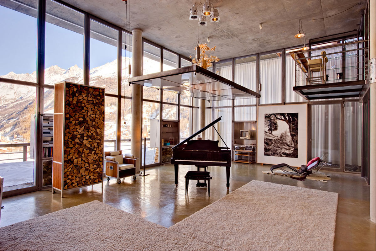 Piano, Wood Store, Rugs, Art, Heinz Julen Loft in Zermatt, Switzerland