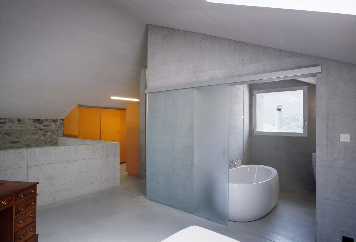 Bathroom, Smoked Glass Door, Renovation in Chamoson, Switzerland by Savioz Fabrizzi Architecte