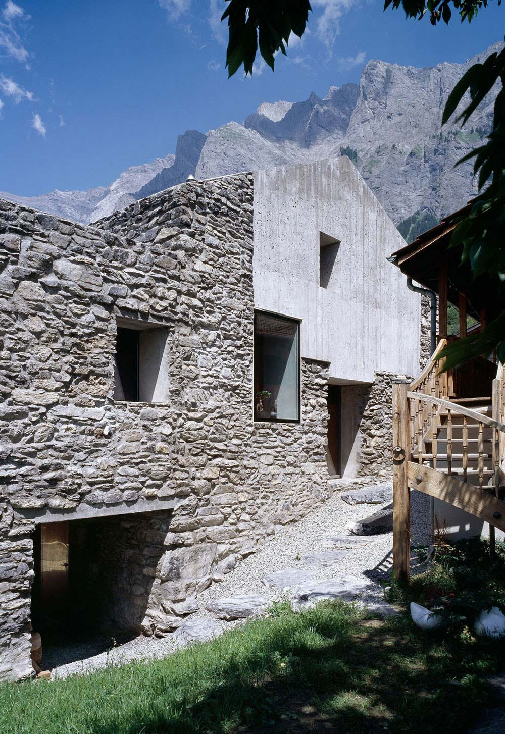 Concrete, Stone Walls, Renovation in Chamoson, Switzerland by Savioz Fabrizzi Architecte