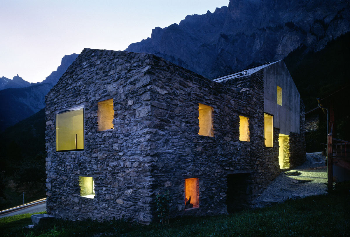 Dusk, Lighting, Renovation in Chamoson, Switzerland by Savioz Fabrizzi Architecte