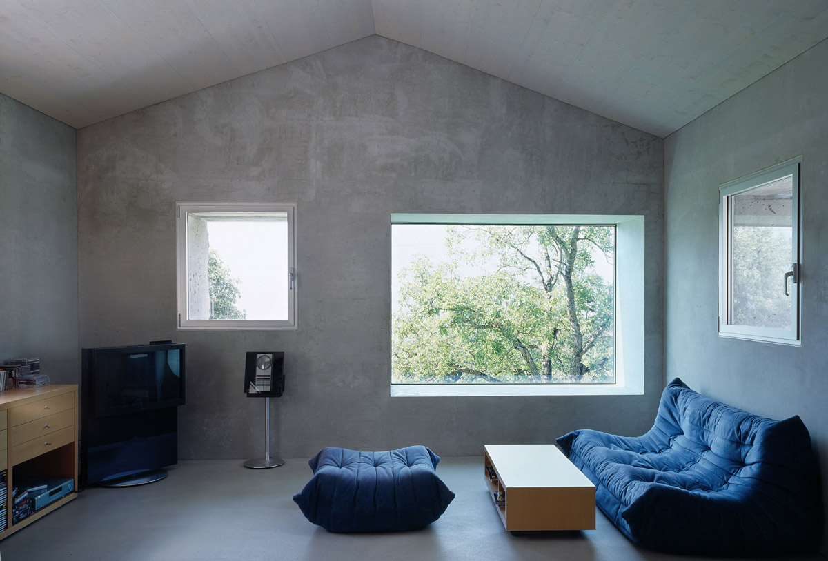 Living Space, Exposed Concrete Walls, Renovation in Chamoson, Switzerland by Savioz Fabrizzi Architecte