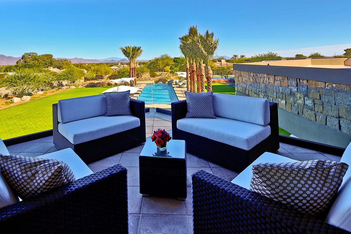 Balcony-Sofas, Garden Views, Ironwood Estate in Paradise Valley, Arizona by Kendle Design Collaborative