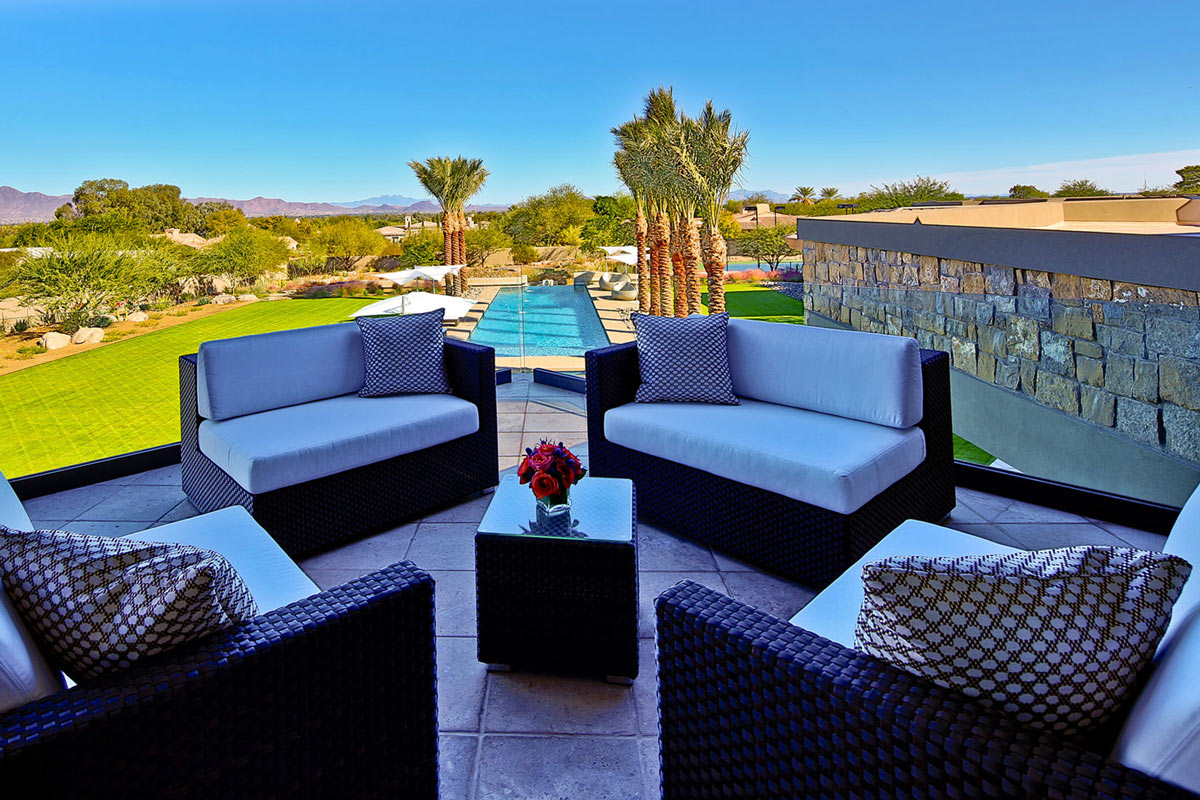 Balcony-Sofas, Garden Views, Ironwood Estate in Paradise Valley, Arizona by Kendle Design Collaborative