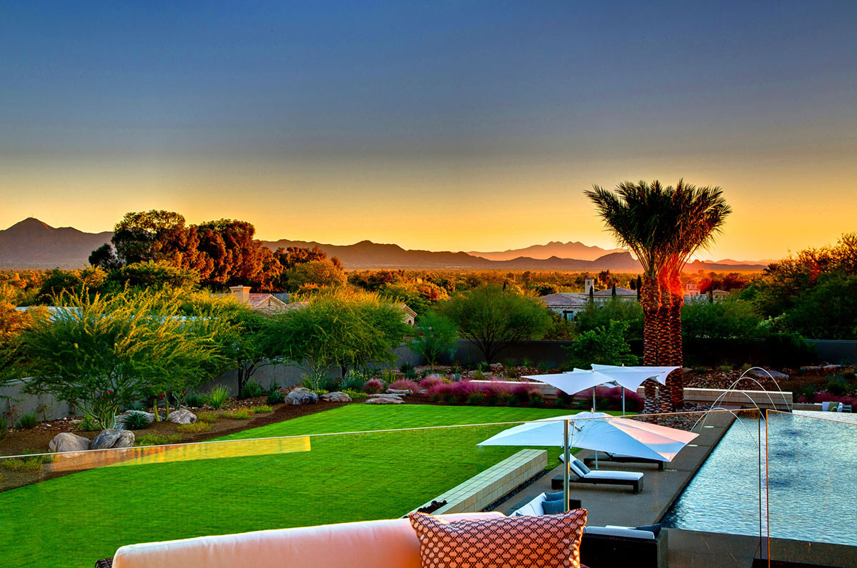 Balcony, Views, Glass Fence, Ironwood Estate in Paradise Valley, Arizona by Kendle Design Collaborative