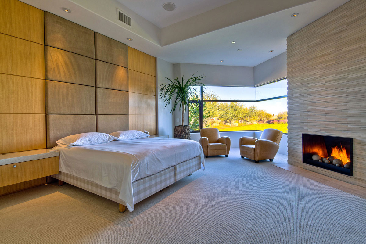 Bedroom, Fireplace, Ironwood Estate in Paradise Valley, Arizona by Kendle Design Collaborative