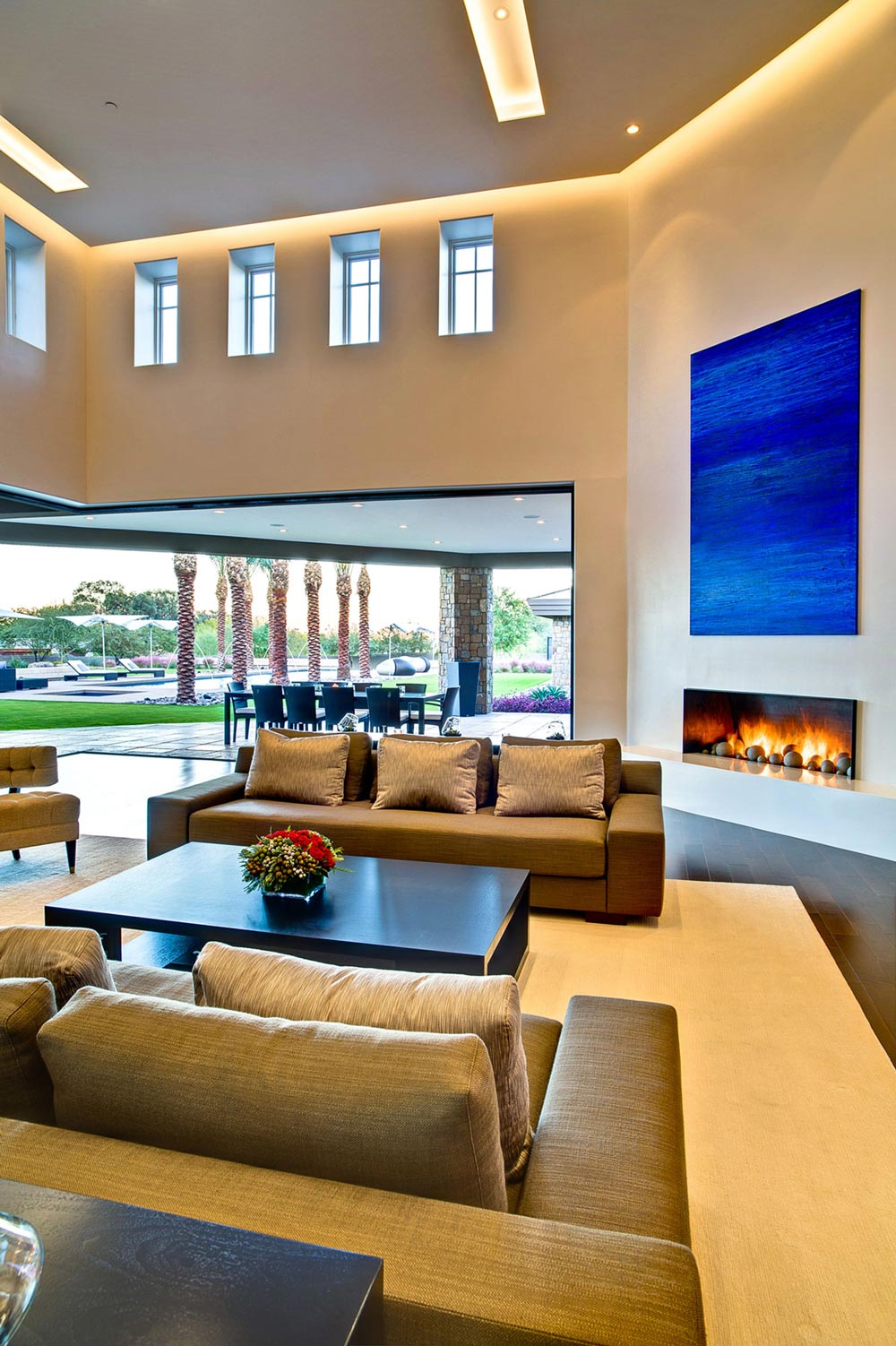 Contemporary Fireplace, Art, Sofas, Ironwood Estate in Paradise Valley, Arizona by Kendle Design Collaborative