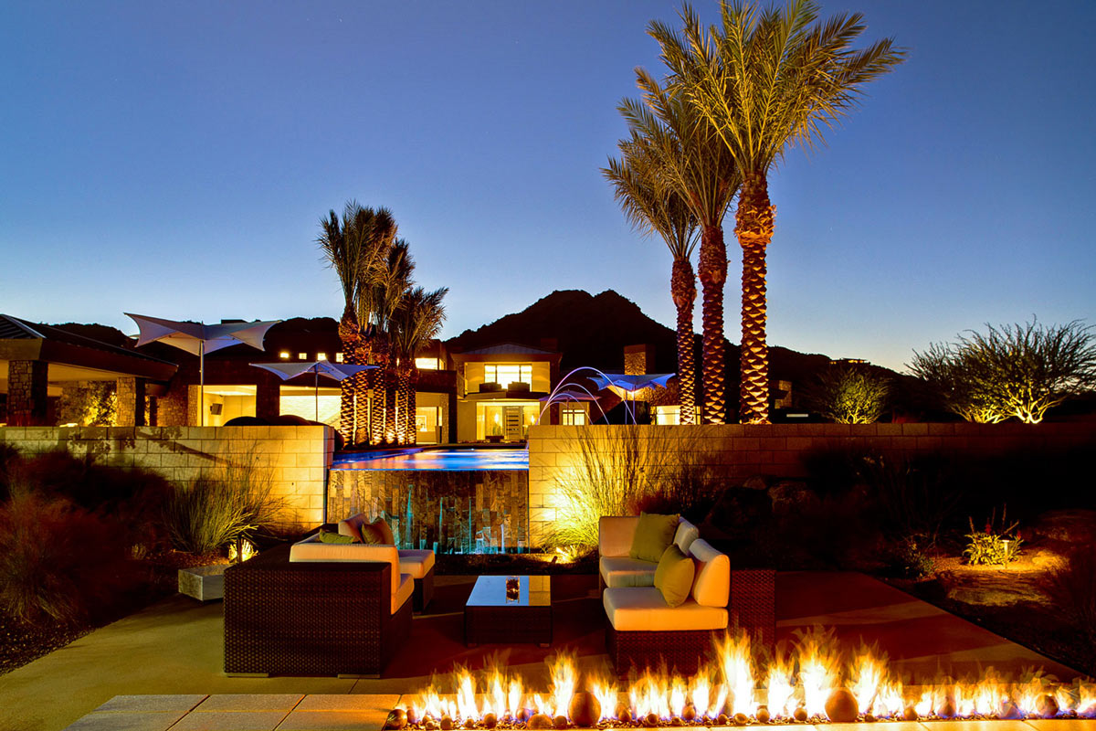 Contemporary Fireplace, Sofas, Lighting, Ironwood Estate in Paradise Valley, Arizona by Kendle Design Collaborative