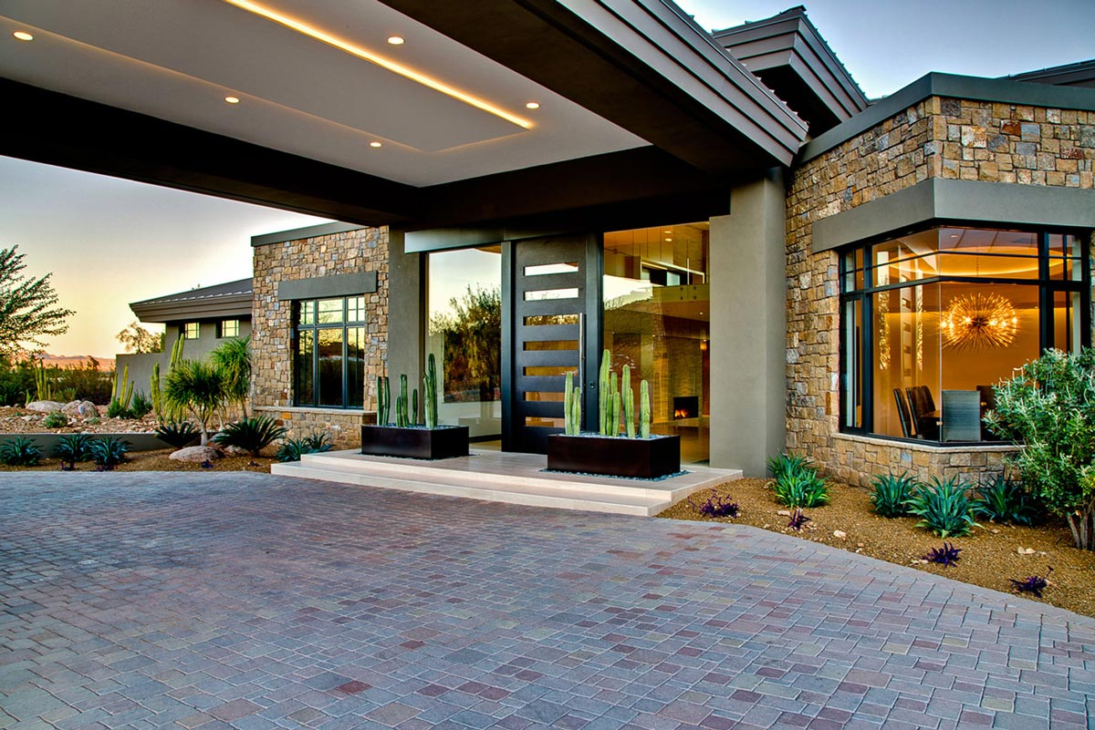 Front Door, Glass Walls, Ironwood Estate in Paradise Valley, Arizona by Kendle Design Collaborative