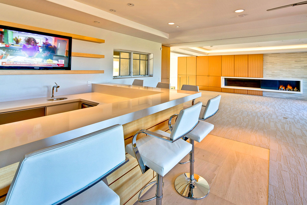 Modern Fireplace, Bar, Ironwood Estate in Paradise Valley, Arizona by Kendle Design Collaborative