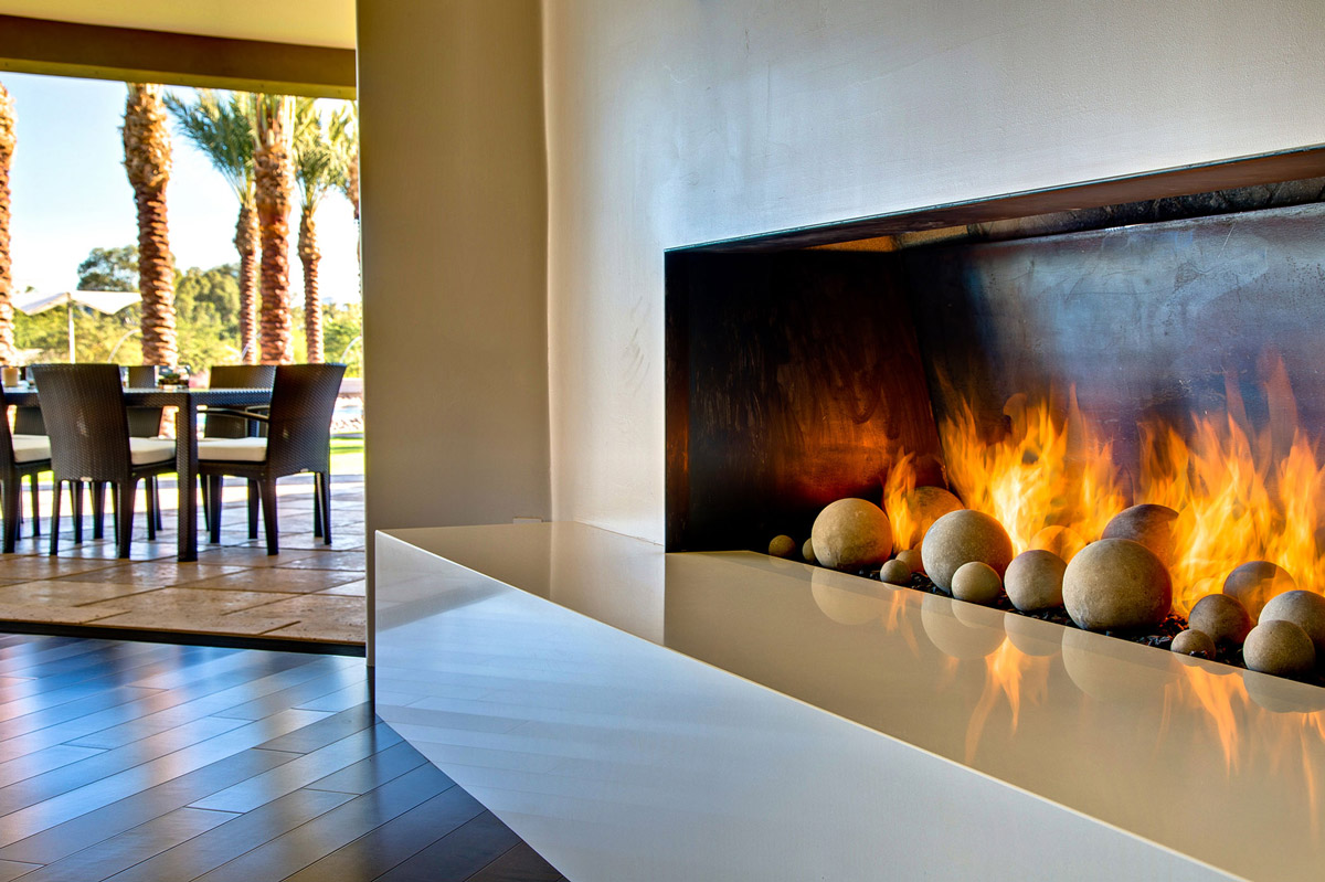modern fireplace ironwood estate in paradise valley arizona by