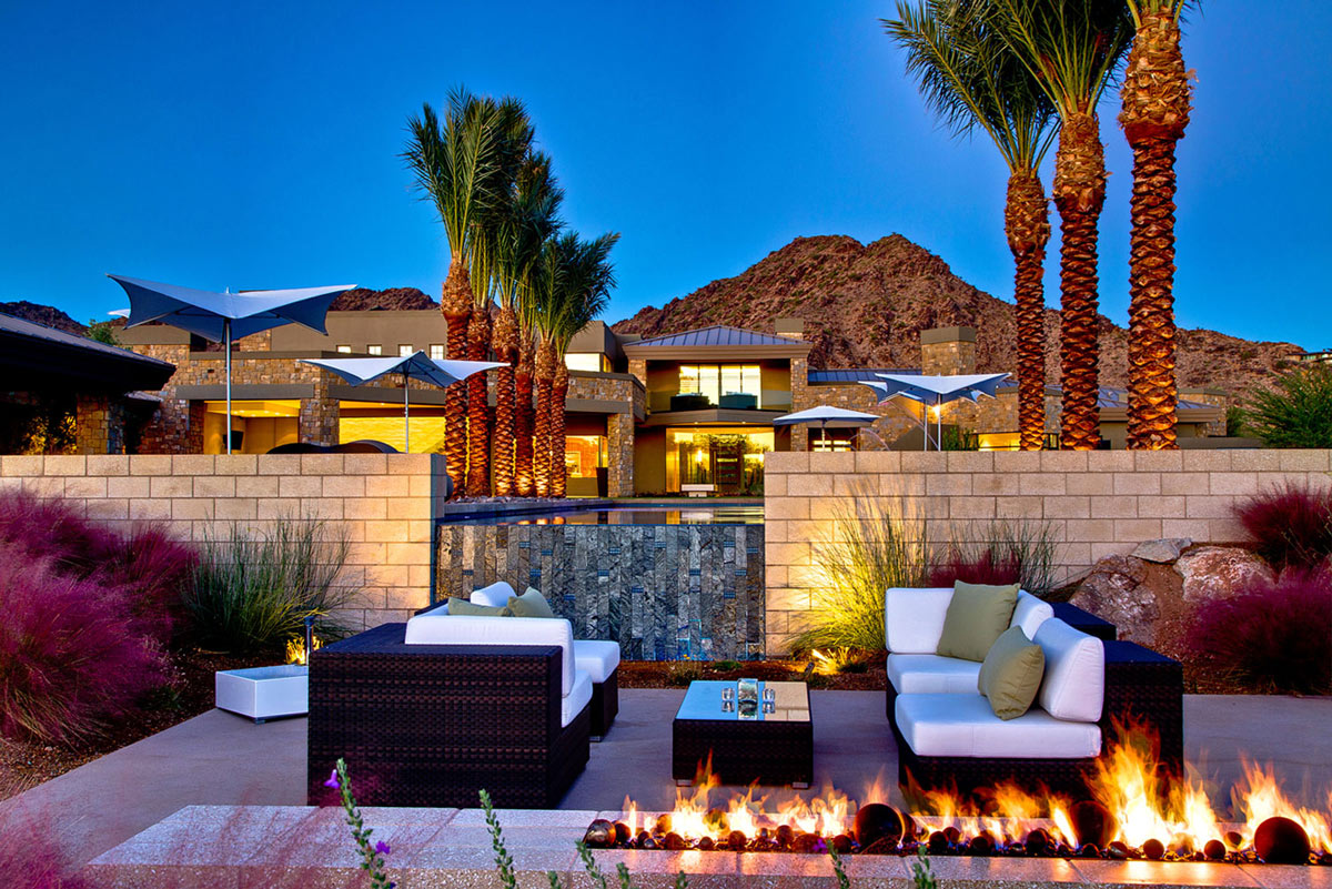 Outdoor Modern Fireplace, Waterfall, Ironwood Estate in Paradise Valley, Arizona by Kendle Design Collaborative