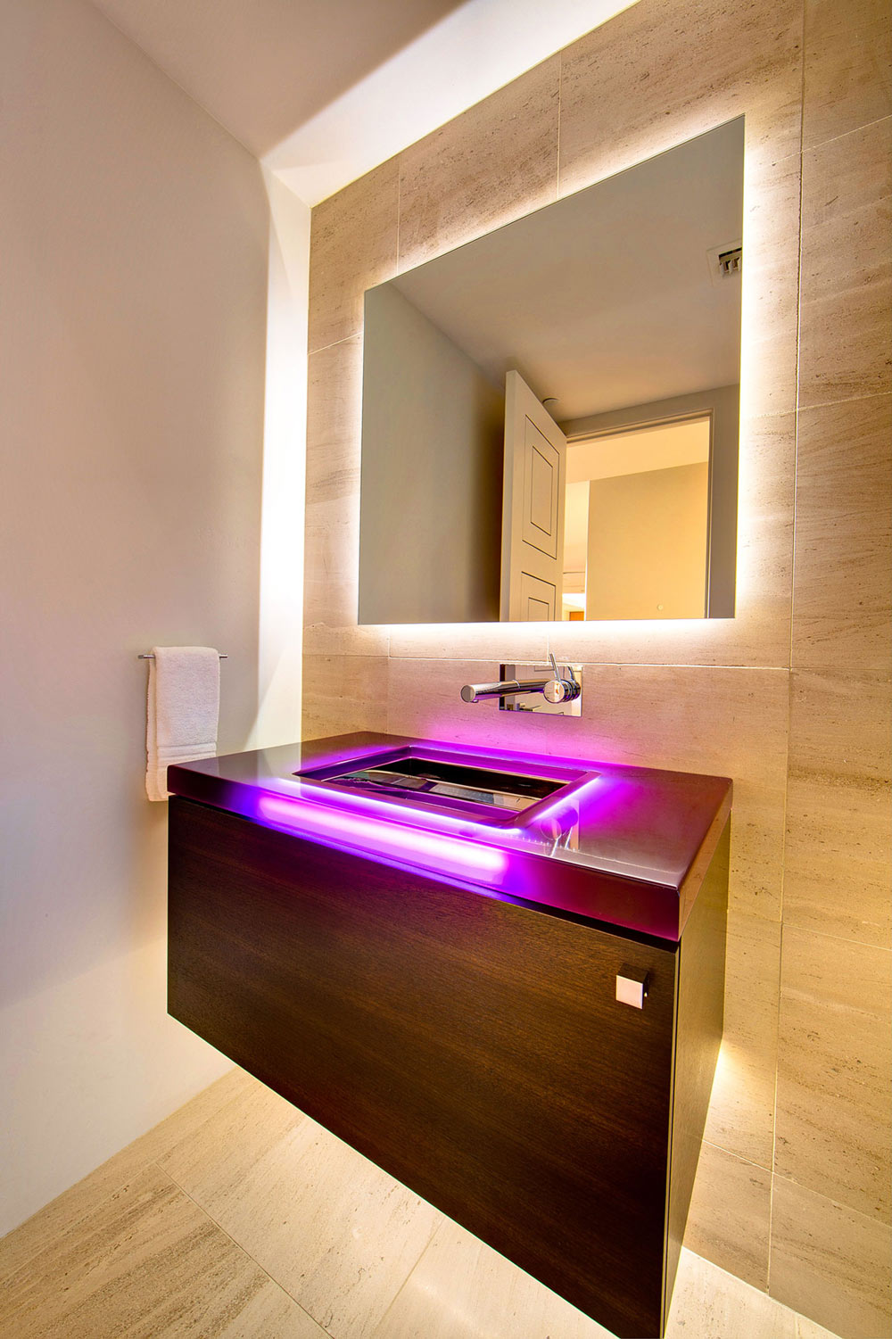 Pink LED Sink, Ironwood Estate in Paradise Valley, Arizona by Kendle Design Collaborative