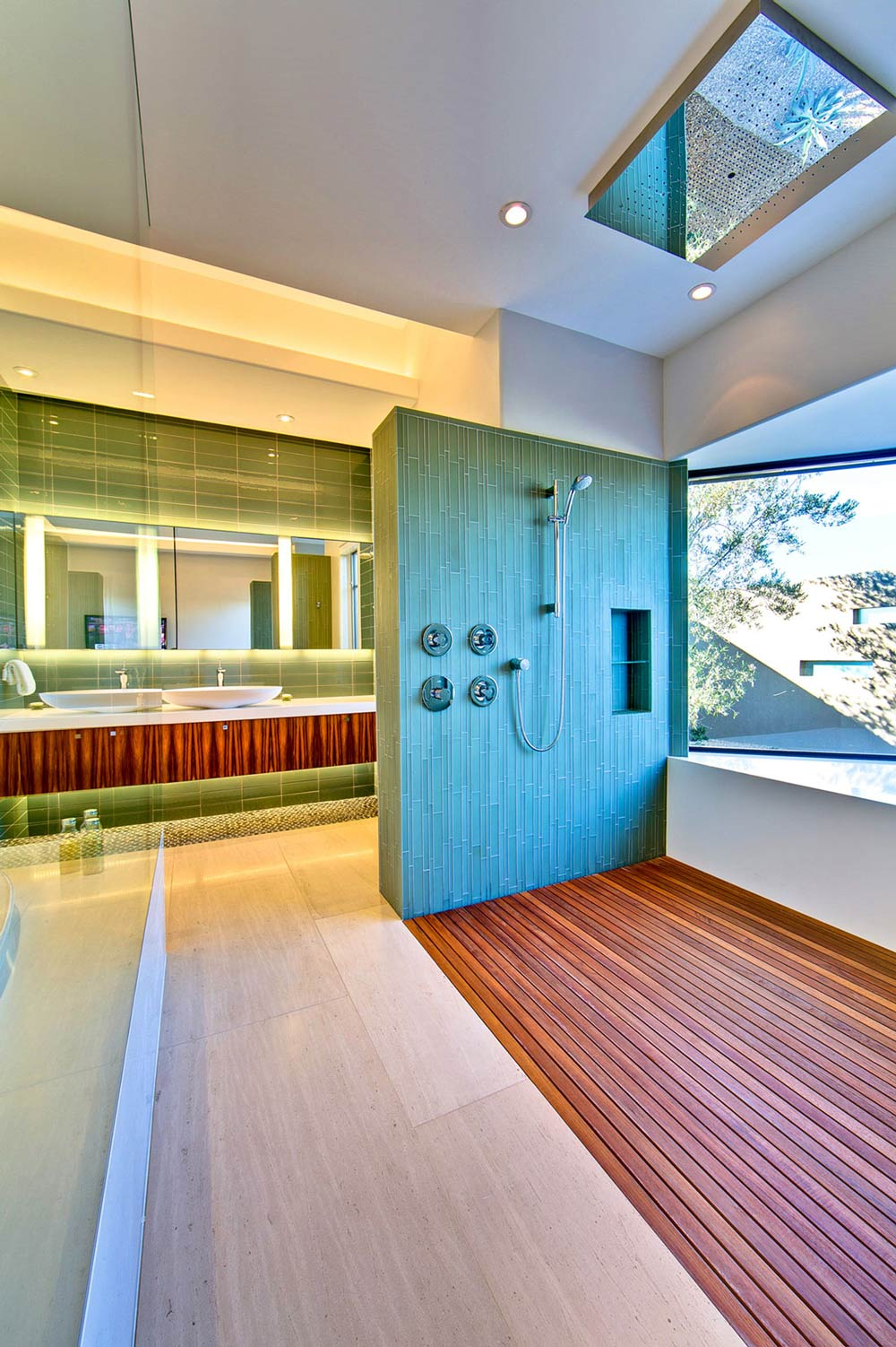 Shower, Wooden Floor, Ironwood Estate in Paradise Valley, Arizona by Kendle Design Collaborative
