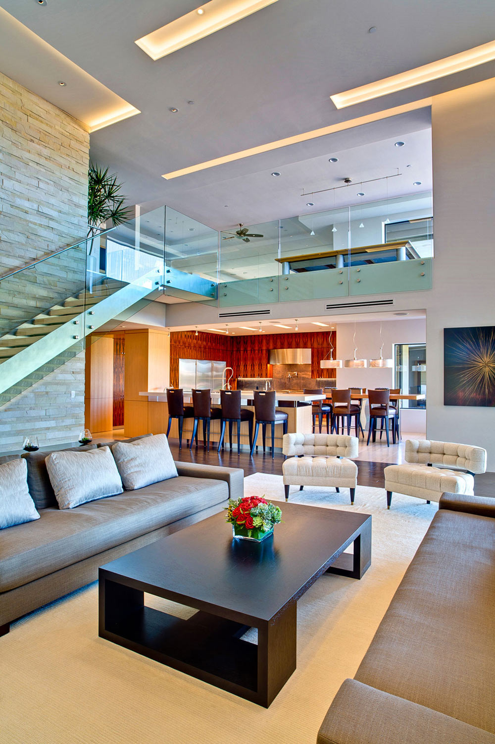 Sofa, Coffee Table, Breakfast Bar, Ironwood Estate in Paradise Valley, Arizona by Kendle Design Collaborative