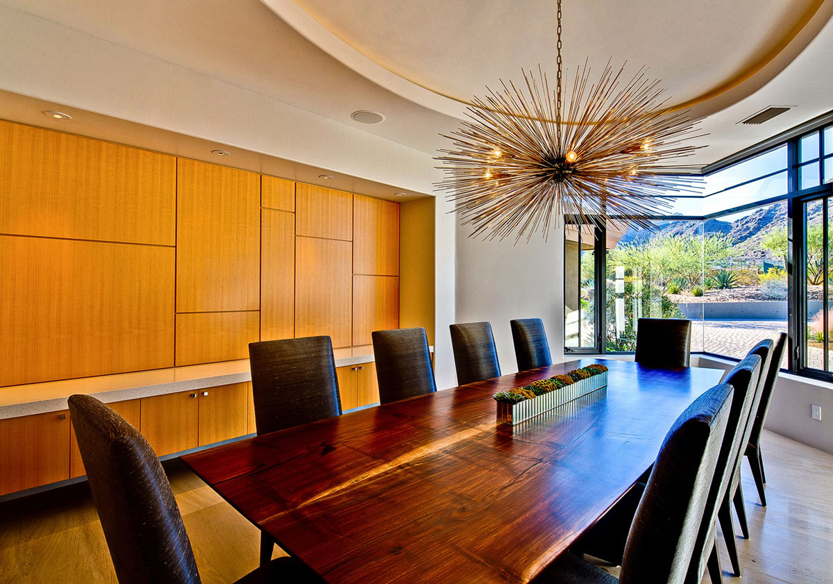 Wooden Dining Table Lighting, Ironwood Estate in Paradise Valley, Arizona by Kendle Design Collaborative
