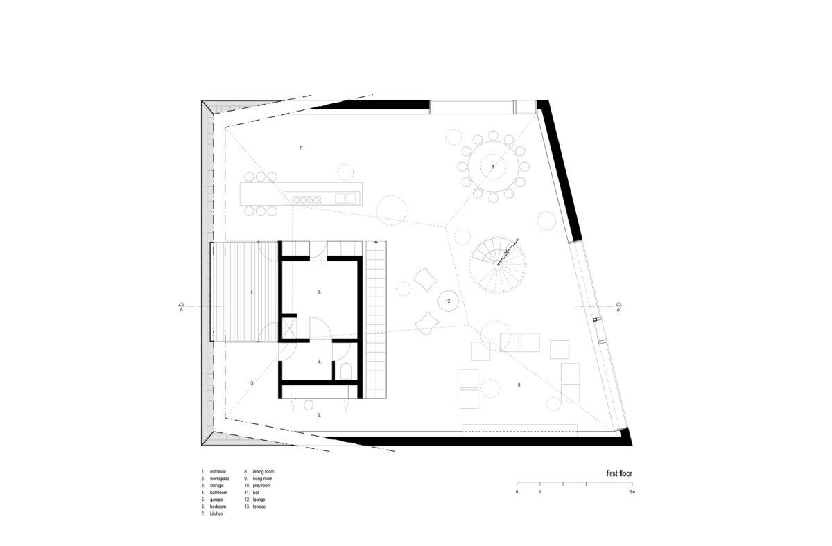 First Floor Plan, VMVK House in Sint-Katelijne-Waver, Belgium by dmvA
