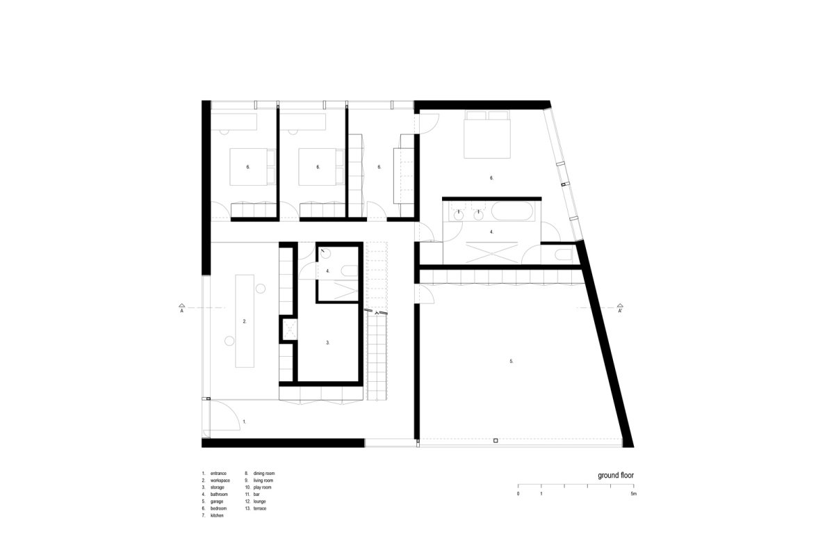 Ground Floor Plan, VMVK House in Sint-Katelijne-Waver, Belgium by dmvA