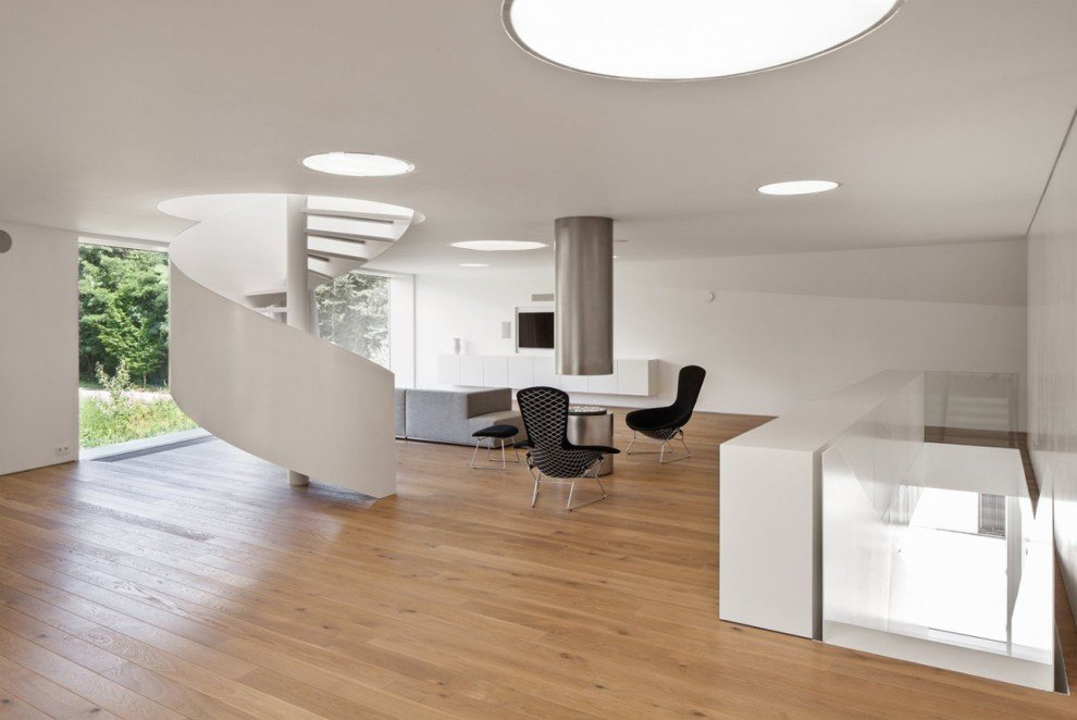 Spiral Stairs, Living Space, VMVK House in Sint-Katelijne-Waver, Belgium by dmvA